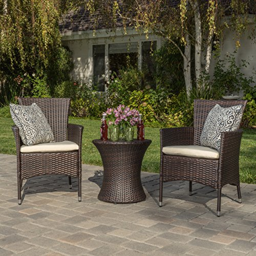 - Christopher Knight Home 299425 West Outdoor Wicker 3 Piece Chat Set Brown, Table Dimensions: 19.75