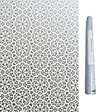 Bloss Privacy Window Film Lace Flower Home Office Window Decal Shower Door Privacy Film 17.7 Inches By 78.7 Inches