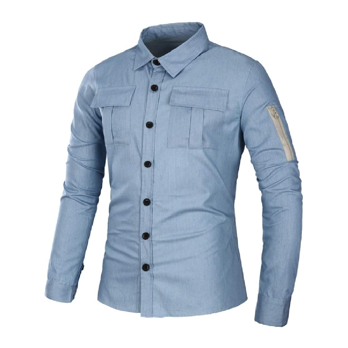 YUNY Men Denim Single-Breasted Vintage Oversize Dress Shirts Top Light Blue M