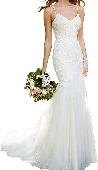 BONBETE V Neck Backless Spaghetti Straps Mermaid Lace Wedding Dresses
