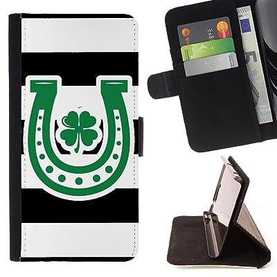 FJCases Patrón de Rayas Herradura Trébol Suerte (Negro) Carcasa Funda Billetera con Ranuras para Tarjetas y Soporte Plegable para Samsung Galaxy S9