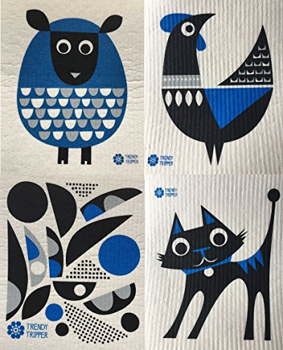 Swedish Dishcloths, Set of 4 Different MODERN Designs in DARK BLUE – Sheep+Rooster+Cat+Abstract 6134tEmYsbL