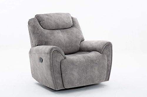Blackjack Furniture Townsend Collection Modern Velvet Upholstered Living Room Reclining, Chair, Gray