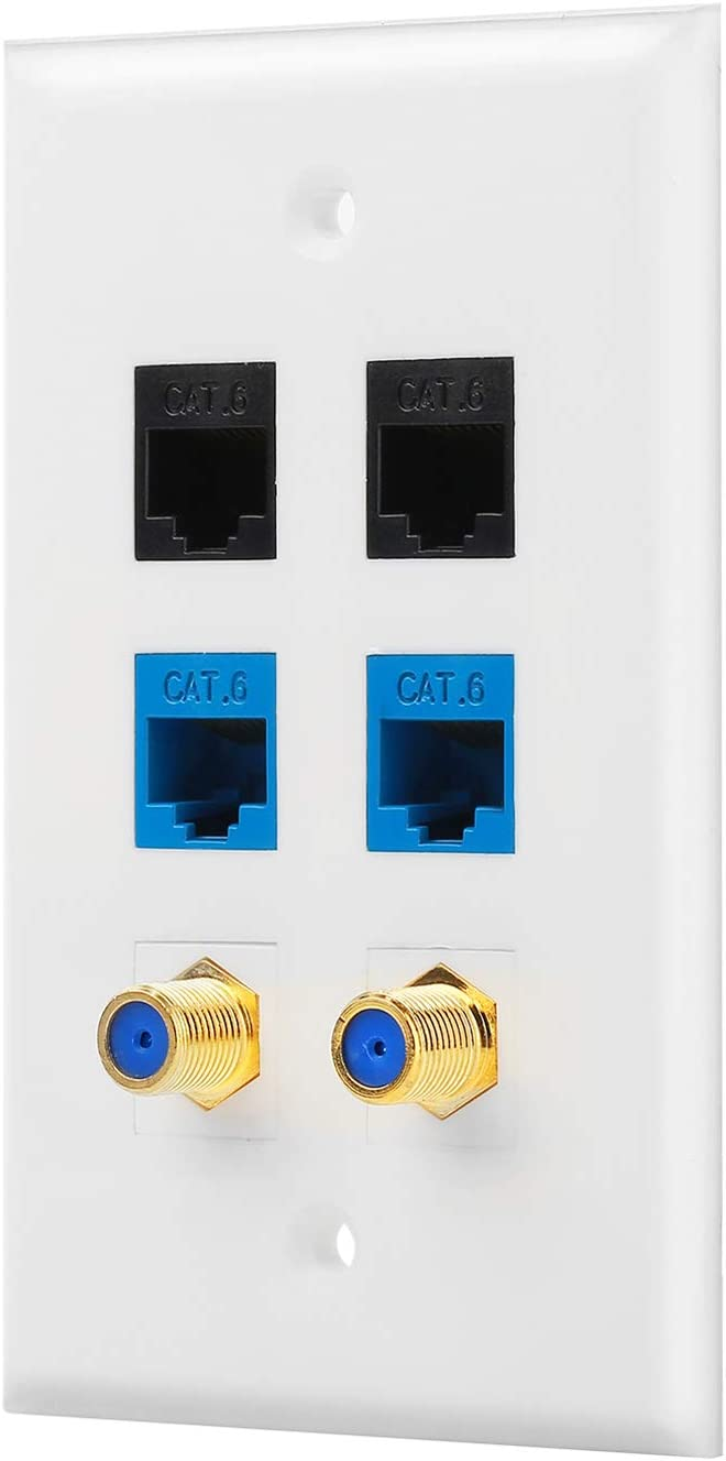 White IBL-1 Cat6 Ethernet Port and 1 Gold-plated Cable TV Coax F Type Port Wall Plate