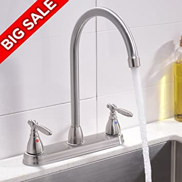 Vccucine Best Commercial Brushed Nickel Two Handles Kitchen Faucet