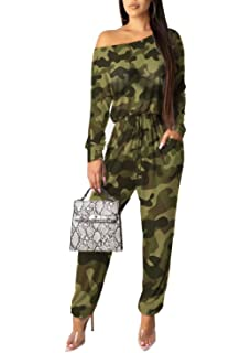Fashion Women Long Sleeve Camouflage Print Tight Zipped Cropped Jumpsuit Casual
