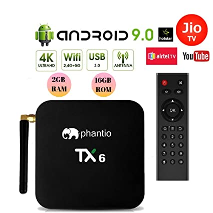 PHANTIO TX6 Android 9 0 Smart TV Box : JIO TV Hotstar WiFi2 4G BT4 0  Quad-Core 3D 4K Ultra HD, H 265 Decoding, USB3 0 Airtel TV Netflix YouTube  and
