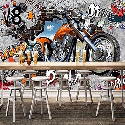 BZDHWWH Custom Wall Murals Wallpaper Motorcycle Street Art Graffiti Mural Decorations Living Room Modern