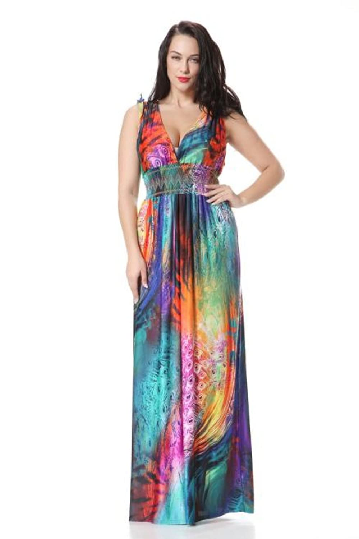 Wensltd Women PLUS SIZE Oversize Boho Long Beach Rainbow Dress
