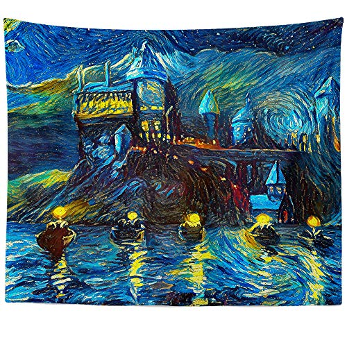 Westlake Art - Starry Night Castle Night Boats - Wall Hanging Tapestry - Abstract Artwork Home Decor Living Room - 60x80 Inch