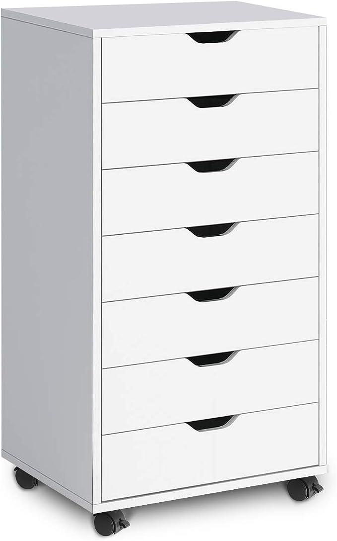 DEVAISE White Dresser Chest with 7 Drawers