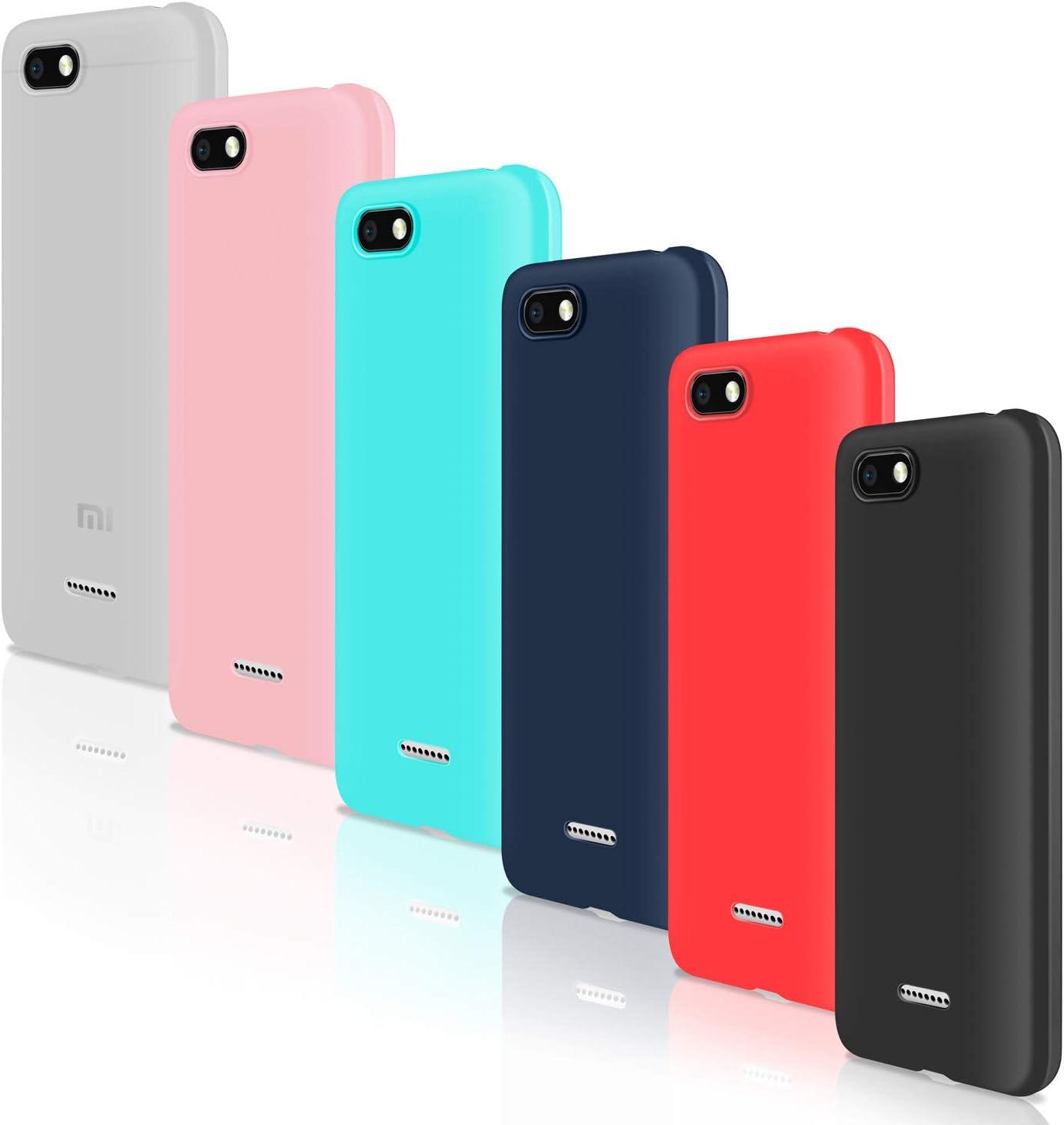 Leathlux [6 Packs Funda para Xiaomi Redmi 6A, Carcasas Colores Ultra Fina Silicona TPU Gel Protector Flexible Cover para Xiaomi Redmi 6A - 5.45