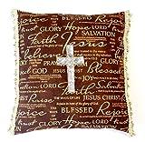 Christian Cross Pillow,Sequined Silver Cross,Bible Verses/Words,Brown/Gold,Tassels