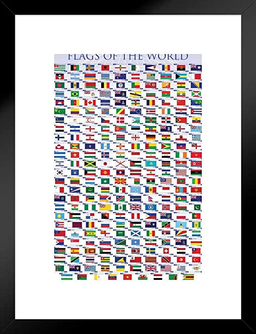 Flags of the World Classroom Educational Chart Framed Poster 12x18
