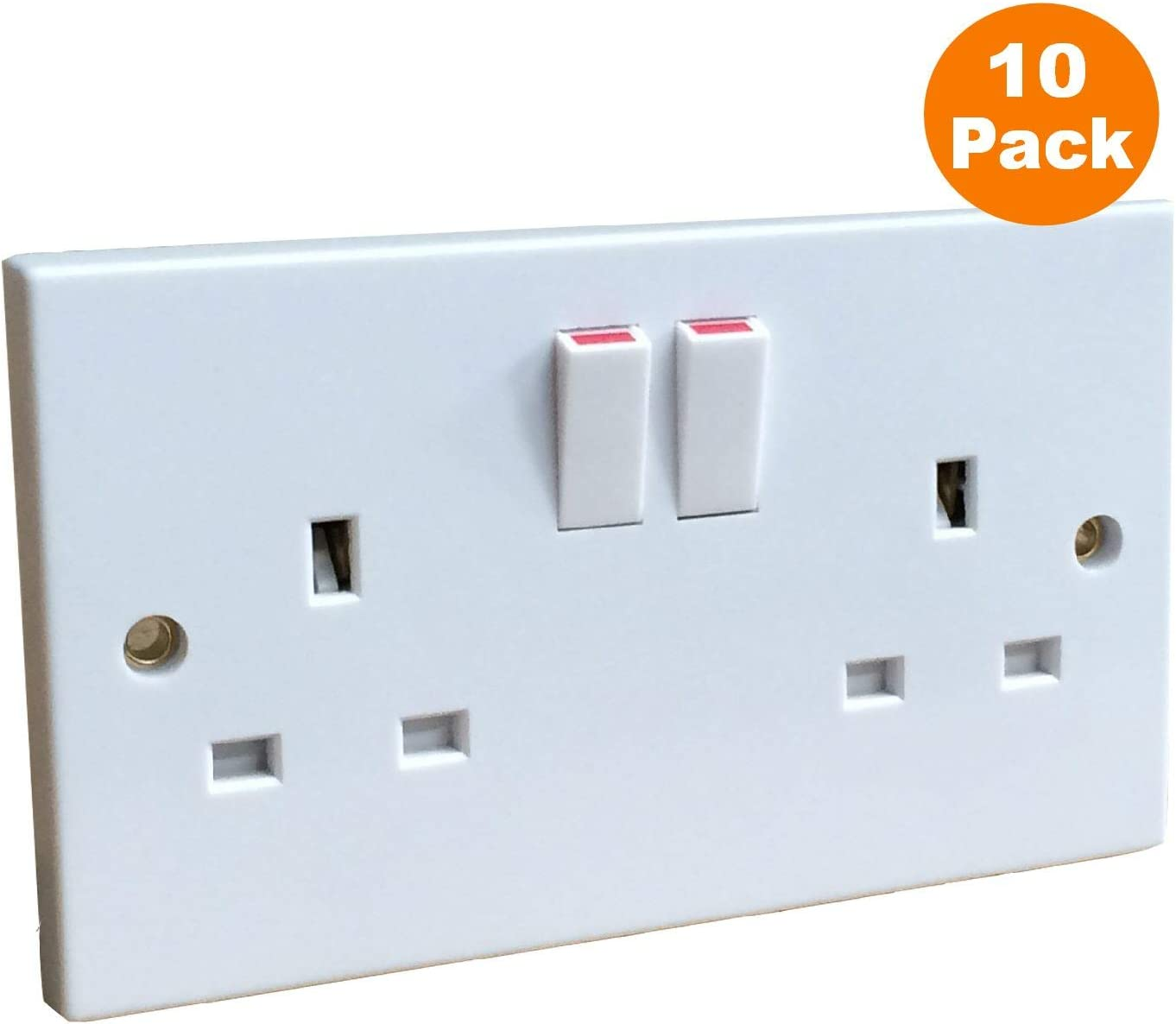 5 x Curved Edge 13A Switched Socket Twin Double Plug Socket 2 Gang Double Pole