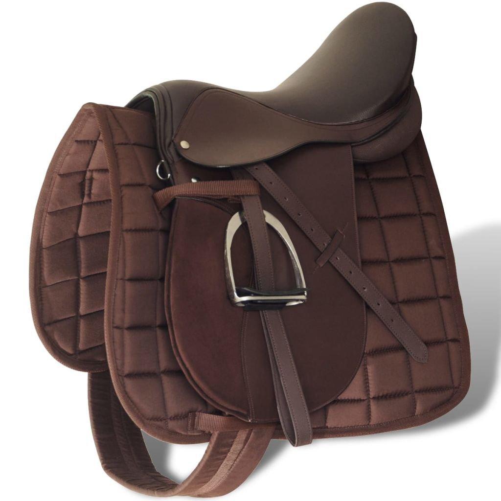 vidaXL Set de selle équitation en cuir véritable 5 en 1 noir / brun
