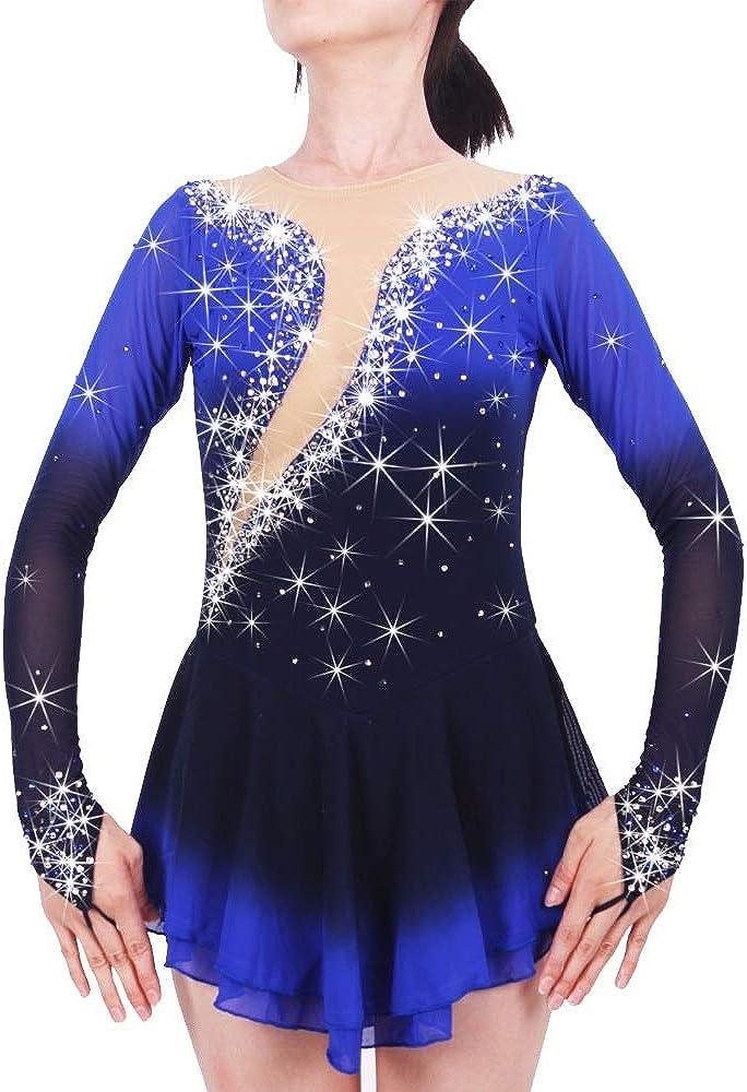 フィギュアスケートドレス女性用女の子用アイススケートドレス手作りパフォーマンススケートウェア高弾性スパンデックスドレスアイス ブルー L