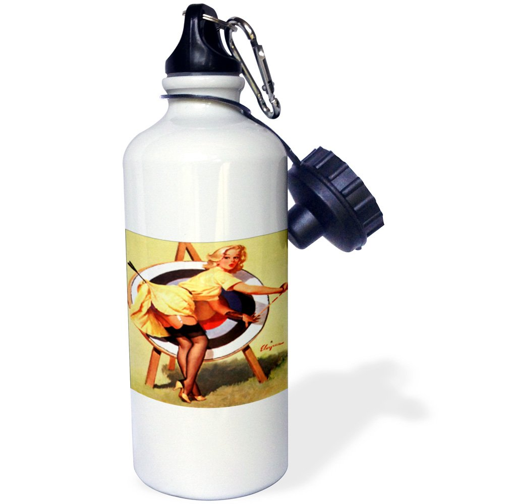 wb/_204148/_1 21 oz Multicolor 3dRose Print of Elvgren Pinup Near Miss Archery-Sports Water Bottle 21oz