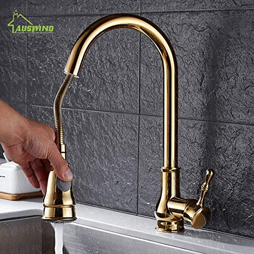 gold CZOOR Crane Brass Kitchen Faucet Electroplate gold Basin Faucets Black Finish Single Handle Hole Pull Out Mixer Water Taps 360 Degree,gold