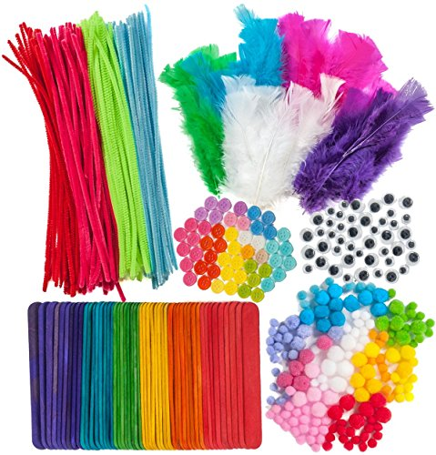 600 Piece Crafts Supplies Mega Pack - Includes Feathers. Craft Buttons, Pom Poms, Colored Popsicle Sticks, Googly Eyes, and Chenille Stems -