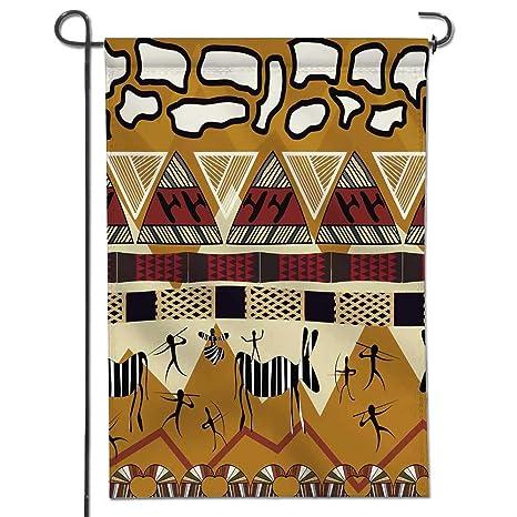 f03b6f6ba4be22 Jiahonghome Garden Flag Animal Tribal Ethnic African Hunting Zebra  WithSpear and Arrow Prehistoric Tribe Life Theme