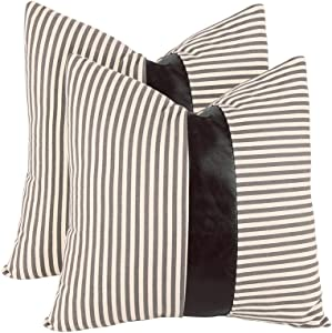 cygnus Set of 2 Farmhouse Decorative Throw Pillow Covers 18x18 Inch Stripe Stitching Black Faux Leather Accent Cushion Covers Boho Modern Decor Pillow Case for Couch Sofa Bedroom Living Room,Gray
