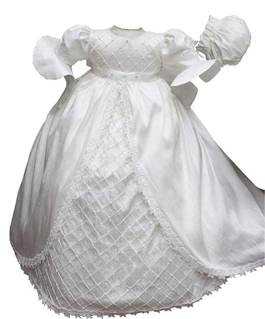 Amazon.com: Vestido de bautizo de encaje suave para bebé ...