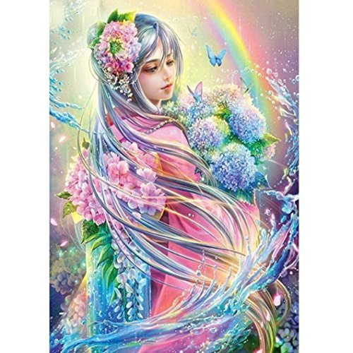 Geyou 5D Diamond Painting Full Drill Flower Fairy Magic Tree Stitch DIY Embroidery Diamond by Number Kits Home Decor Gift New,Crafts & Sewing Cross Stitch (A)