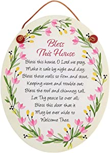 Bless This House Floral Religious Prayer Plaque, 7 1/2 Inch