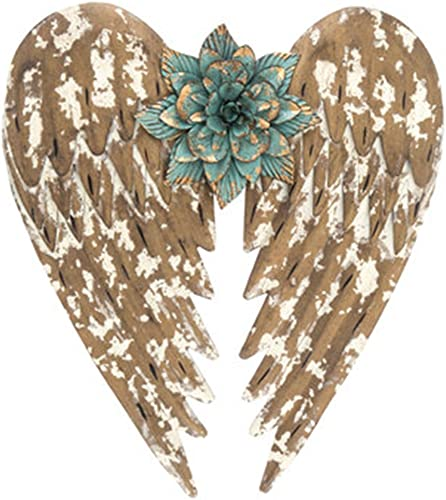 Beautifully Distressed Gold Metal Angel Wings with Flower in Center Wall Home Decor 14.5