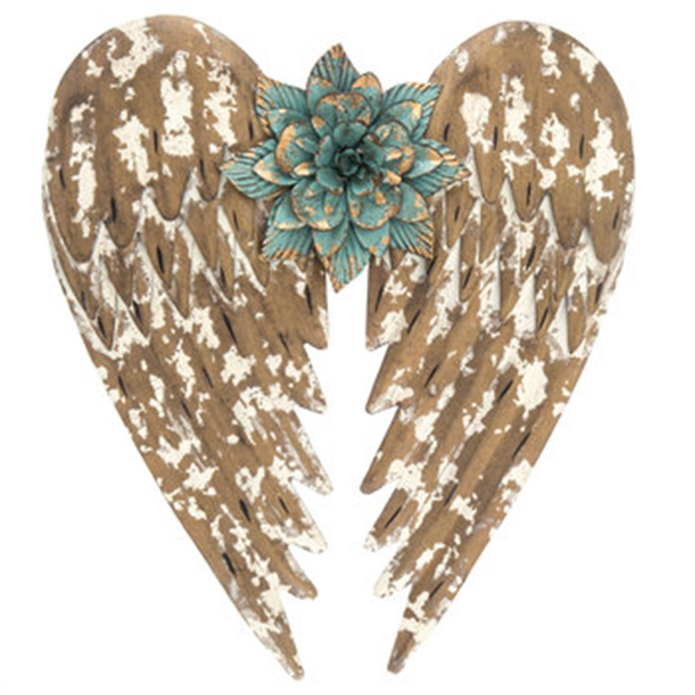 """Beautifully Distressed Gold Metal Angel Wings with Flower in Center Wall Home Decor ~ 14.5"""""""