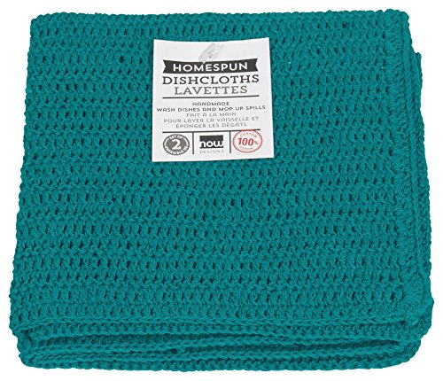 Now Designs Homespun Crocheted Dishcloths, Set of Two, Peacock Green