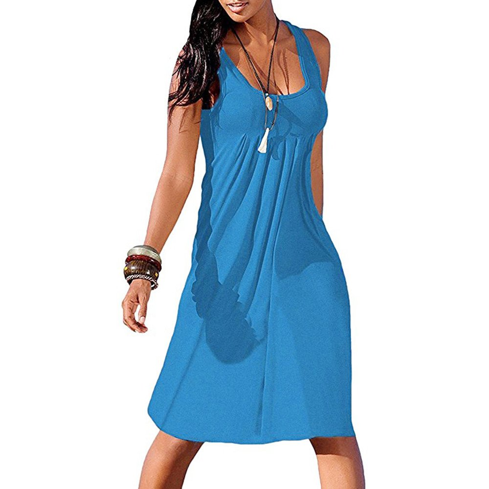 Women Casual Dress Swing Sleeveless Sexy Simple Round Neck T-Shirt Loose Dresses (S, Blue)