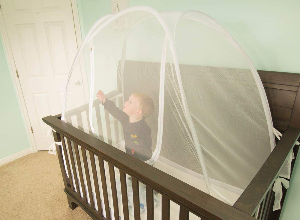 Lullaby Baby Crib Safety Tent CPSC Certified Pop Up See Through Mesh Nursery Mosquito Net Complete with Extra Fitted Crib Sheet by Lullaby Baby (Image #2)