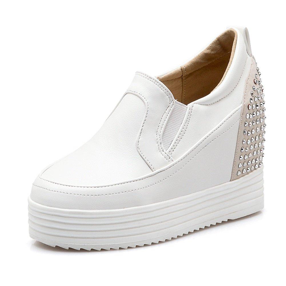 DecoStain Women's Leisure Round Toe Rhinestone Decoration Slip-on Platform High Wedges Heels Daily Working Sneakers