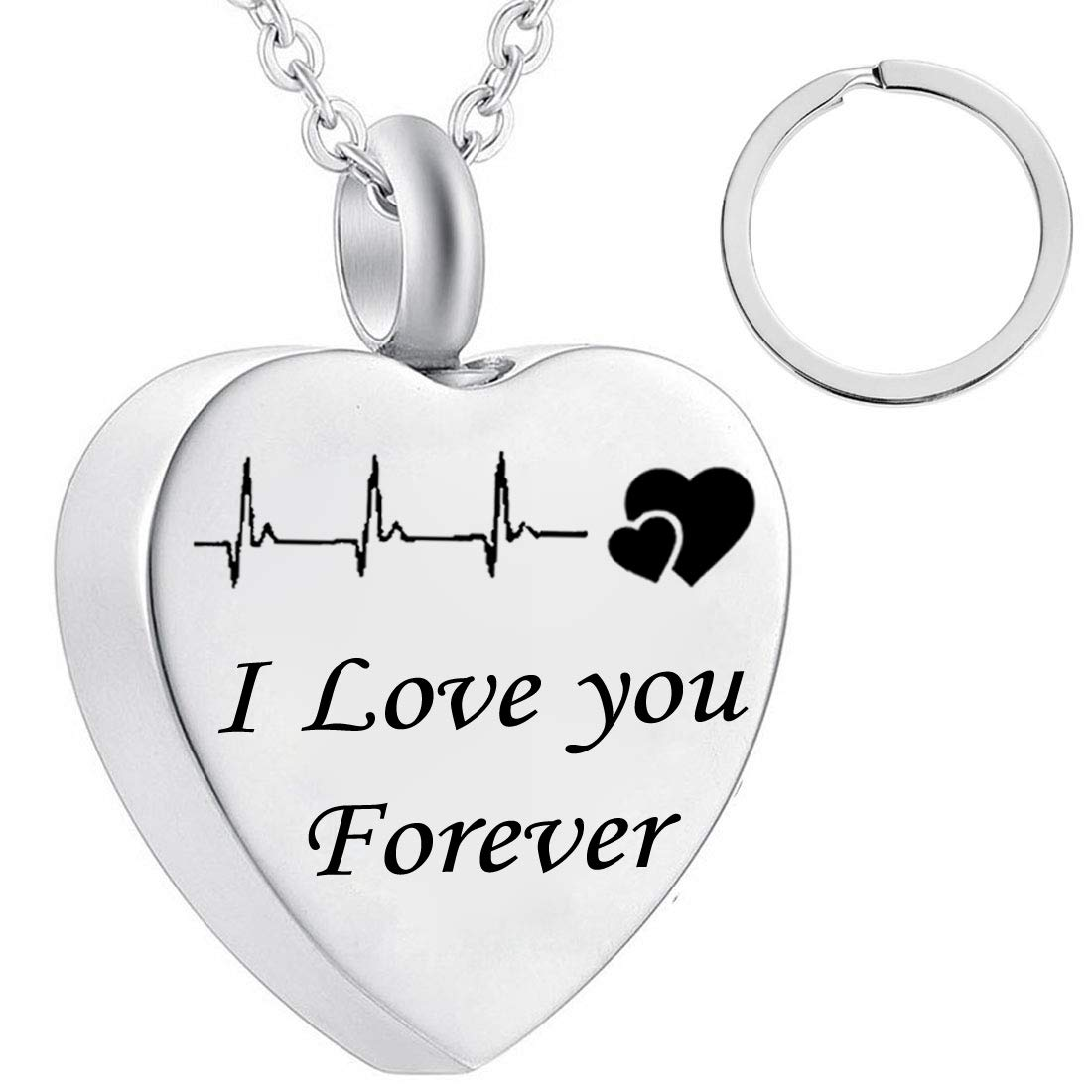 misyou dad and mom Cremation Jewelry Cardiogram Necklace Silver Always in My Heart Memorial Necklace Ashes Keepsake Pendant
