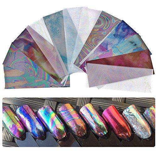 CHoppyWAVE Nail Sticker, 12 Pcs Multicolor Starry Sky Nail Foils Stickers Manicure DIY Transfer Sticker