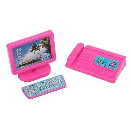 Lecimo Equipo De Fax Rosado Miniatura del Ordenador del Teclado del Monitor Fijado para Barbie Dollhouse