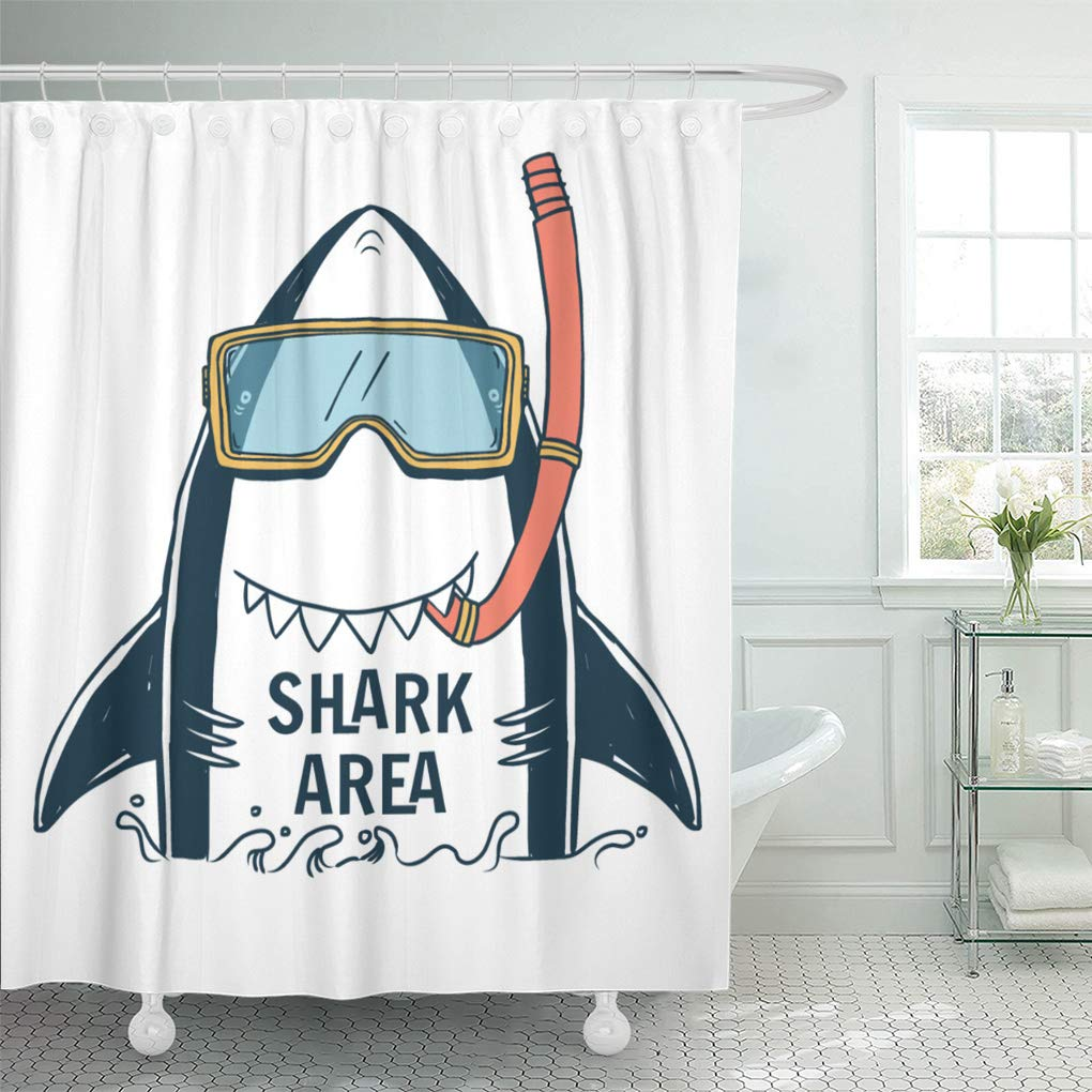 Emvency Shower Curtain Set with Hooks Polyester Fabric Blue Graphic Shark Typo and Summer Boy Kid Cute Tee Resistant Waterproof Adjustable 60 x 72 Inches for Bathroom