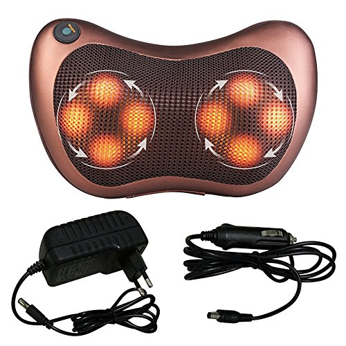 Relax Accesories Massage Roller Heat Pad Warmer Massage Kit Multifunction Pillow Shiatsu Relax Time 6 Features Relieve Muscle Shoulder Thermotherapy Vibrator for Home, Office, Car Winter Gift - Orange In Touch My Spa