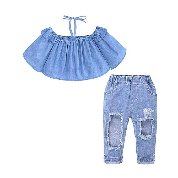 86e2dc087 GoodLock Baby Girls Fashion Clothes Set Toddler Kids Condole Belt Off  Shoulder Tops+Jeans Pants
