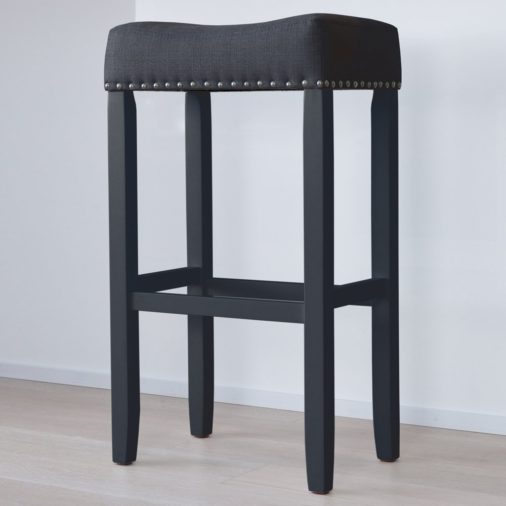 Nathan James 21404 Hylie Nailhead Wood Pub Height Kitchen Bar Stool, 29'', Black