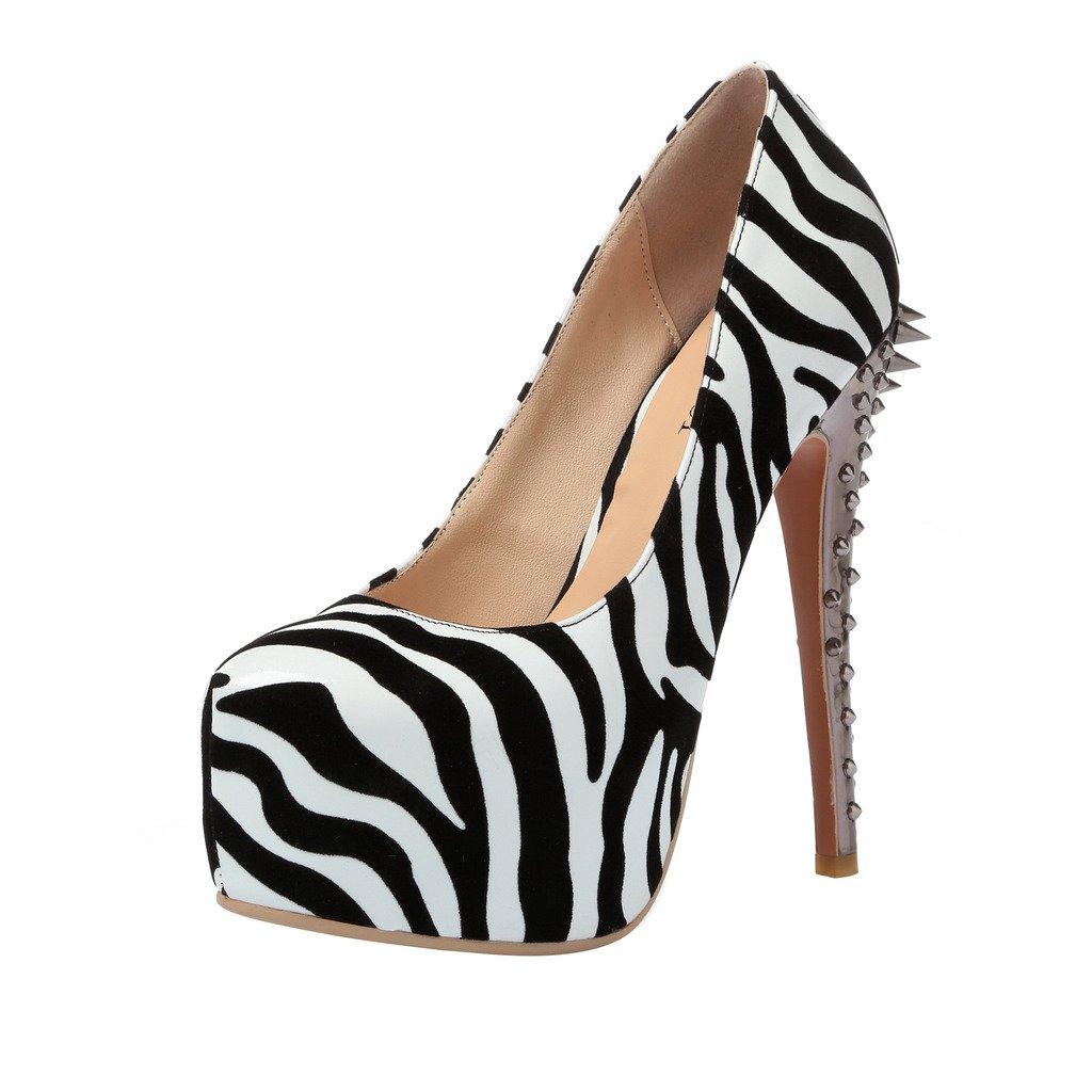 Calaier Mujer Cafunny Muchacha Faschion Boda Club Atractivos Tacón De Aguja 16CM Sintético Ponerse Zapatos de tacón 45|Varios colores