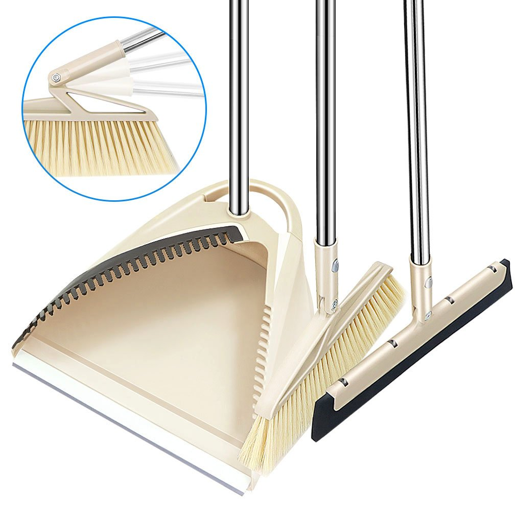 SLC Broom and Dustpan set, 3 Piece Grips Sweep Set with Dust Pan, Wipe and Dry Floor Squeegee, 48.3'' Long Handle Extendable Lobby Broom Combo Set for Cleaning Home Kitchen Garden Room Office Floor