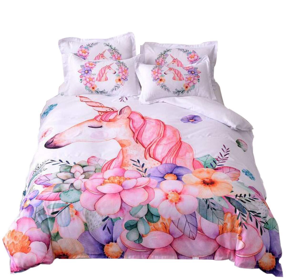 WINLIFE Pink Unicorn Print Duvet Cover Set Floral Pattern Granddaughter, Girls Gift Bedding Set Twin A