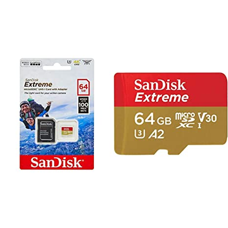 SanDisk Extreme - Tarjeta de Memoria 64GB microSDXC para móvil, Tablets y cámaras MIL + Adaptador SD + Rescue Pro Deluxe + Extreme - Tarjeta de ...