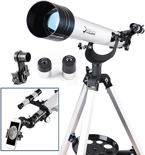 Telescopio de 60 mm AZ Refractor con adaptador de digiscopio para smartphone de 10 mm – Observador de 60 mm AZ Refractor y kit de inicio de alcance de viaje: Amazon.es: Electrónica