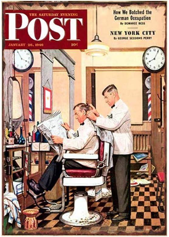 HiSign Barbershop Time Soul Panneau de Mur en /étain r/étro Peinture sur Fer Vintage Plaque en m/étal Affiche pour Bar Cafe Store Road