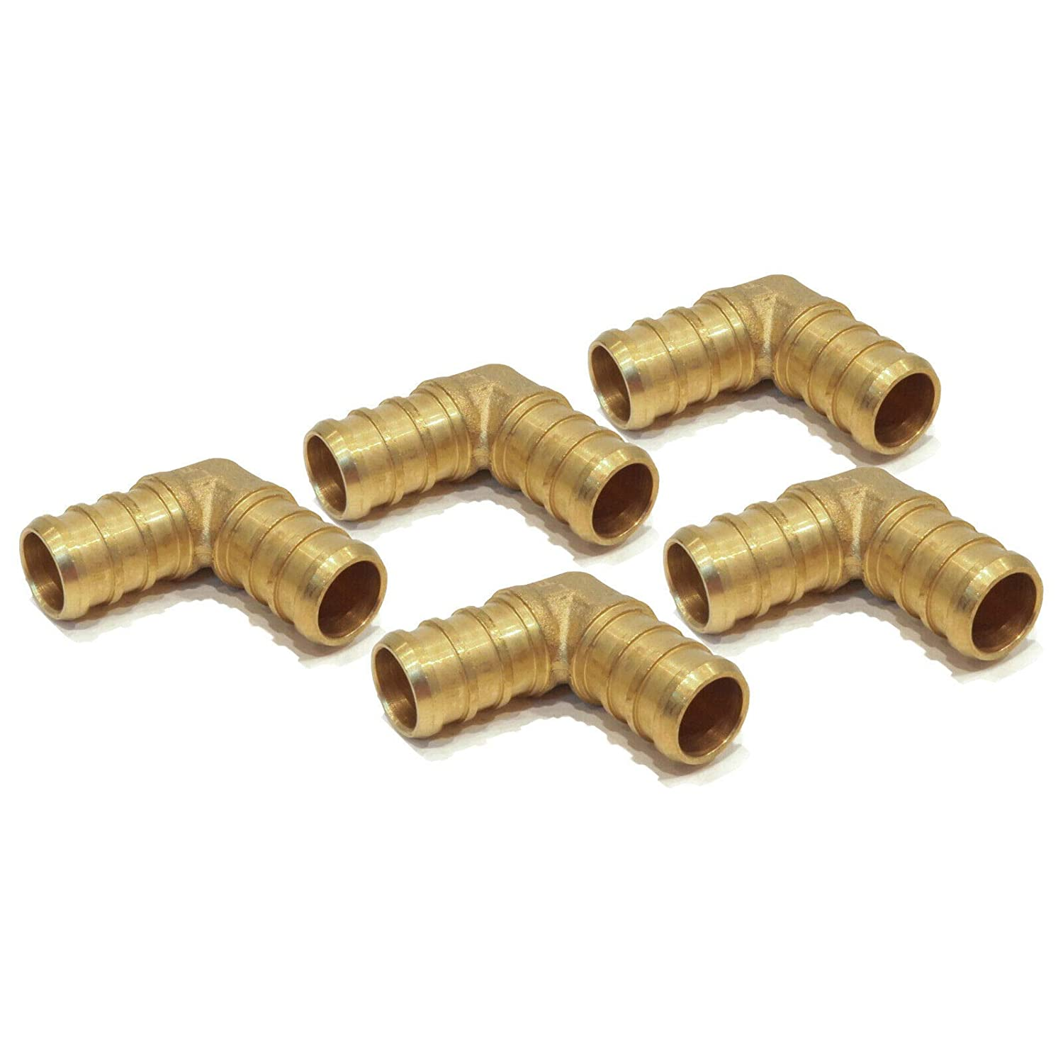 """2 New 3//4/"""" x 3//4/"""" PEX 90 DEGREE BRASS ELBOWS Fitting Barbed Coupler LEAD FREE"""