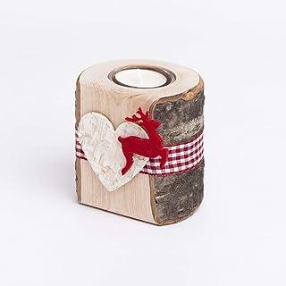 Teelichthalter aus Holz mit Filzmotiv Hirsch | handgefertigt in Bayern | Tisch-Deko Windlicht Kerzenhalter